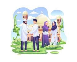 glückliche Muslime feiern eid mubarak, indem sie vor der Moschee die Hand schütteln vektor