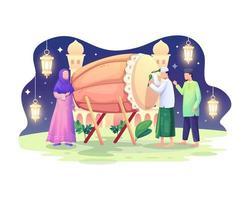 glückliche Muslime feiern Ramadan Kareem mit Bettwanze oder Trommel vektor