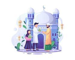ramadan kareem zakat ger välgörenhet, en viktig islamisk skyldighet för donation och välgörenhet vektor