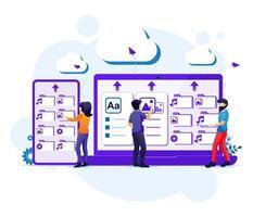 cloud computing servicekoncept, människor arbetar på jätte enheter, molnlagring, datacenter vektor