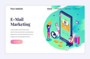 isometrisk målsidades designkoncept för e-postmarknadsföringstjänster med en man som sitter nära en jätte smartphone. vektor illustration