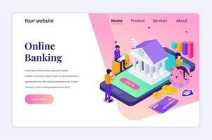 modernt platta isometriskt designkoncept av internetbank med tecken. elektronisk betalning för webbplats och mobilwebbplats. målsidesmall. vektor illustration