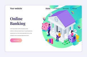 isometrisk målsidesdesignkoncept onlinebank med tecken, finansiella online- och affärsinvesteringar. vektor illustration