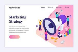 isometrisk målsidesdesignkoncept för marknadsföringsstrategikampanj, människor som håller och ropar på den gigantiska megafonen för marknadsförings- och försäljningsprogram. vektor illustration