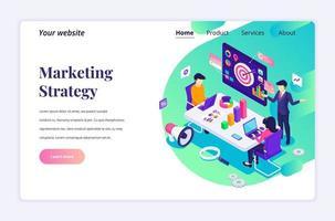 isometrisk målsidesdesignkoncept för marknadsföringsstrategi med affärsmän i möte eller diskussion. vektor illustration