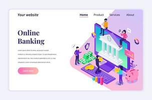 modernt platta isometriskt designkoncept av internetbank med tecken. online finansiell investering för webbplats och mobilwebbplats. målsidesmall. vektor illustration