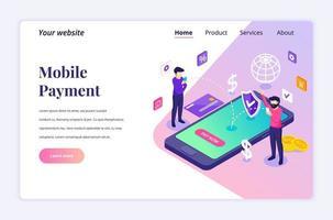 modernt platta isometriskt designkoncept för onlinebetalning, penningöverföring. människor gör en online-transaktion för webbplats och mobilwebbplats. målsidesmall. vektor illustration