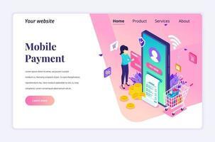 modernt platta isometriskt designkoncept för onlinebetalning, penningöverföring. en ung kvinna gör en online-transaktion för webbplats och mobilwebbplats. målsidesmall. vektor illustration