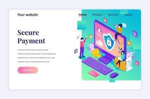 modernt platta isometriskt designkoncept av säker betalning, penningöverföringsskydd med tecken för webbplats och mobilwebbplats. målsidesmall. vektor illustration