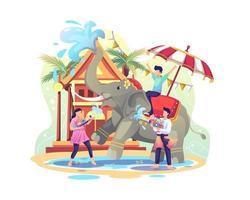 glückliche Menschen, die das Songkran-Festival feiern, indem sie mit Elefanten Wasser spielen vektor