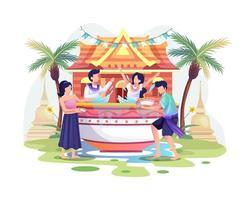 Menschen feiern den Songkran Festival Thailand traditionellen Neujahrstag, indem sie Wasser aus Schalen spritzen vektor