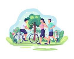 Weltgesundheitstag-Illustrationskonzept mit Paarjoggen und einer Person, die im Park radelt. gesunder Lebensstil vektor