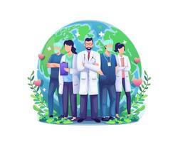 världshälsodagsillustrationskoncept med en grupp personalläkare och sjuksköterskor som står framför världen världen vektor
