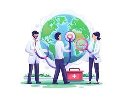 Ärzte überprüfen die Welt der Gesundheitswelt mit einem Stethoskop in der Reihenfolge des Weltgesundheitstages vektor