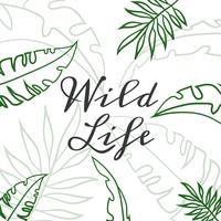 Sötgröna tropiska löv med citat