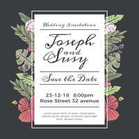 Gulligt bröllop spara datuminbjudan med blommor och löv