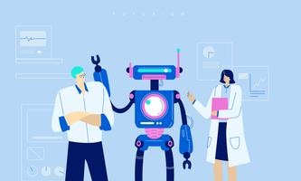 Zukünftige Roboter-Technologie-Innovations-Vektor-flache Illustration
