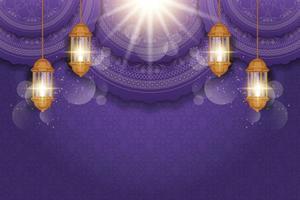 Ramadan Kareem Grußkarte mit arabischen Laternen verziert vektor