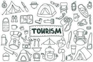 Tourismus-Set im Doodle-Stil. Hand gezeichnete Vektor Camping ClipArt Set. lokalisiert auf weißer Hintergrundzeichnung für Drucke, Plakat, niedliches Briefpapier, Reisedesign. Natur, Walderholung, Sport.