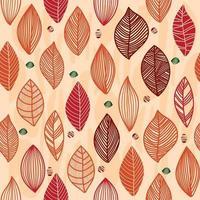 Waldblätter nahtloses Muster in pastellfarbenen, warmen Farben. Tapete mit natürlichen Blumenornamenten. handgezeichnetes grafisches modernes Design. vektor