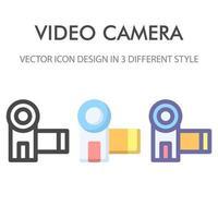 Videokamera-Symbolpaket lokalisiert auf weißem Hintergrund. für Ihr Website-Design, Logo, App, UI. Vektorgrafiken Illustration und bearbeitbarer Strich. eps 10.