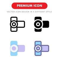 videokamera ikon pack isolerad på vit bakgrund. för din webbdesign, logotyp, app, ui. vektorgrafikillustration och redigerbar stroke. eps 10. vektor