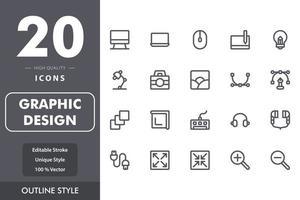 Grafikdesign-Icon-Pack vektor
