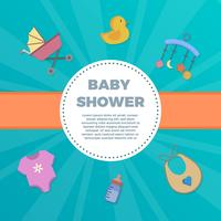 Plana baby shower element med dekorativ bakgrund vektor illustration