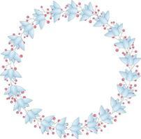 Vektorkranz aus blauen Blumen und roten Beeren. Der Rahmen hat einen Platz für den Text vektor