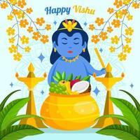 flache glückliche Vishu mit blauem Hintergrund vektor