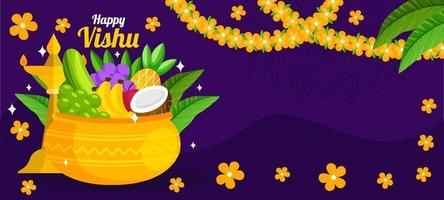 glücklicher Vishu mit lila Hintergrund vektor