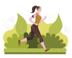 en springande kvinna i parken. hälsosam livsstil. färgstark bakgrund. vektorillustration i platt stil vektor