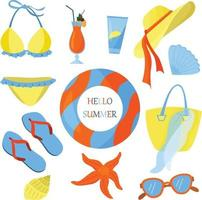 platt vektorillustration på temat sommar. strandsemester. ljusa sommarfärger. havssäsong. tillflykt. vektor