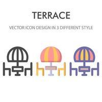 terrass ikon pack isolerad på vit bakgrund. för din webbdesign, logotyp, app, ui. vektorgrafikillustration och redigerbar stroke. eps 10.