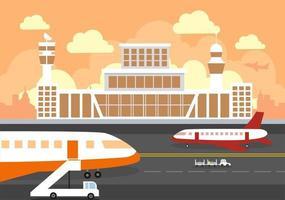 Flughafenterminalgebäude mit abhebender Infografikflugzeug- und verschiedenen Transportartenelementschablonenvektorillustration vektor