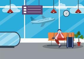 nya normala, vektorillustration människor i masker som sitter i flygplatsens inre terminal, affärsresor koncept. platt design. vektor
