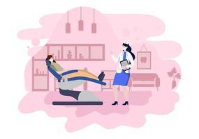 Zahnarztpraxis flache Farbabbildung. Krankenhausinnenraum mit Arbeitsplatz, Ausrüstung, Instrumenten, Beratung, Behandlung und Diagnose vektor