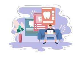 tandvårdskontor platt färgillustration. sjukhusinredning med arbetsplats, utrustning, instrument, konsultation, behandling och diagnos vektor