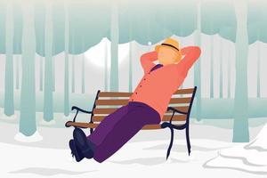 alter Mann, der sich im Parkstuhl entspannt, der Schnee genießt, fällt flache Illustration vektor