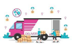 flache Darstellung der Online-Lieferung für Auftragsverfolgung, Kurierdienst, Warenversand, Stadtlogistik mit einem LKW oder Motorrad vektor