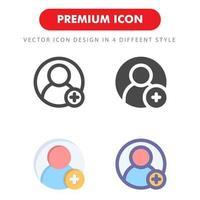 lägg till vän ikon pack isolerad på vit bakgrund. för din webbdesign, logotyp, app, ui. vektorgrafikillustration och redigerbar stroke. eps 10. vektor