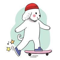 hand Rita tecknad söt hund som leker på skateboard