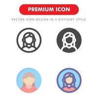 kvinnlig avatar ikon pack isolerad på vit bakgrund vektor