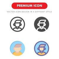 manlig avatar ikon pack isolerad på vit bakgrund vektor