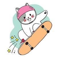 hand Rita tecknad söt katt som spelar på skateboard