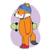 hand Rita tecknad söt räv som spelar på skateboard