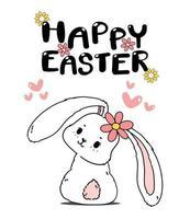 söt våren kanin påsk, glad påsk, söt tecknad klotter ritning illustration vektor