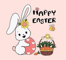 söt vårkanin kramar påskägg med korg med morötter och ett bi. glad vår påsk, söt tecknad klotter ritning illustration vektor