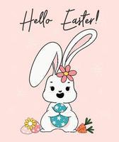 söt vårkanin kramar. glad vår påsk, söt tecknad klotter ritning illustration vektor