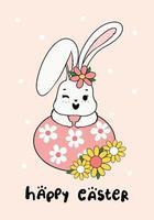 söt vårkanin på blomman påskägg glad vår påsk, söt tecknad klotter ritning illustration vektor